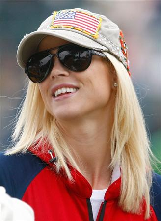 SAN FRANCISCO - OCTOBER 10:  Elin Woods watches the play during the Day Three Morning Foursome Matches of The Presidents Cup at Harding Park Golf Course on October 10, 2009 in San Francisco, California.  (Photo by Scott Halleran/Getty Images)