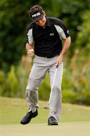 RIVIERA MAYA, MEXICO - MARCH 01:  Mark Wilson reacts after saving par on the 8th hole during the final round of the Mayakoba Golf Classic on March 1, 2009 at El Camaleon Golf Club in Riviera Maya, Mexico.  (Photo by Chris Graythen/Getty Images)