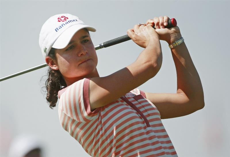 PRATTVILLE, AL - OCTOBER 1:  Lorena Ochoa of Mexico watches her drive from the first tee during first round play in the Navistar LPGA Classic at the Robert Trent Jones Golf Trail at Capitol Hill on October 1, 2009 in  Prattville, Alabama.  (Photo by Dave Martin/Getty Images)