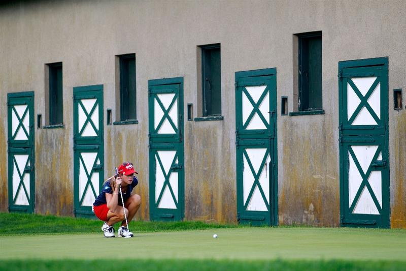 GLADSTONE, NJ - MAY 21:  Paula Creamer putts on the 15th green in round four of the Sybase Match Play Championship at Hamilton Farm Golf Club on May 21, 2011 in Gladstone, New Jersey.  (Photo by Chris Trotman/Getty Images)