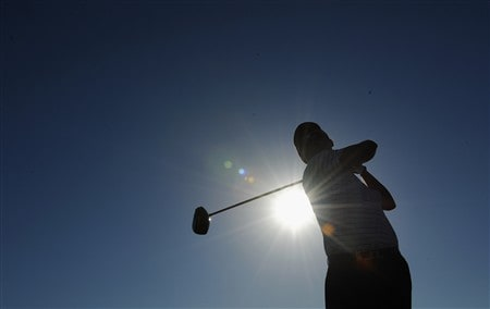 CASCAIS, PORTUGAL - APRIL 02:  Felipe Aguilar of Chile plays a tee shot during pro - am of The Estoril Open de Portugal The Quinta da Marinha Golf Course on April 2, 2008 in Cascais, Portugal.  (Photo by Stuart Franklin/Getty Images)