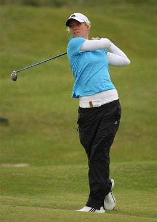 LYTHAM ST ANNES, UNITED KINGDOM - JULY 31:  Melissa Reid of England hits her approach on the 15th hole during the second round of the 2009 Ricoh Women's British Open Championship held at Royal Lytham St Annes Golf Club, on July 31, 2009 in  Lytham St Annes, England. (Photo by Warren Little/Getty Images)