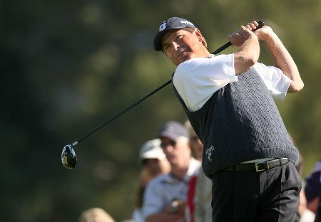 PACIFIC PALISADES, CA - FEBRUARY 16:  Fred Couples hits his tee shot on the second hole during the third round of the Northern Trust Open on February 16, 2008 at Riviera Country Club in Pacific Palisades. California.  (Photo by Stephen Dunn/Getty Images)