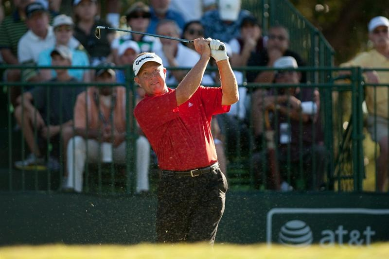 SAN ANTONIO, TX - OCTOBER 31: Rod Spittle of Canada follows through on a tee shot during the final round of the AT&T Championship at Oak Hills Country Club on October 31, 2010 in San Antonio, Texas. (Photo by Darren Carroll/Getty Images)