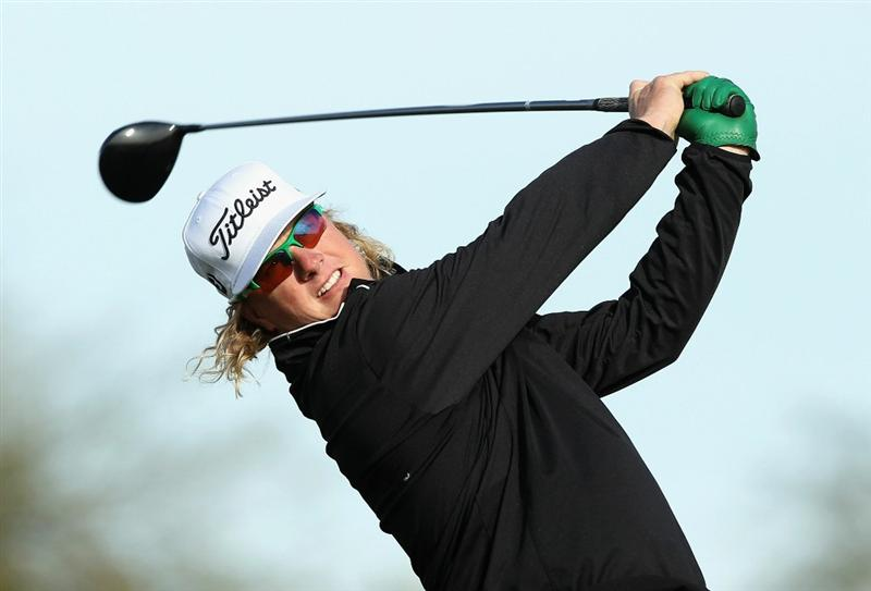 SCOTTSDALE, AZ - FEBRUARY 05:  Charley Hoffman hits a tee shot on the eighth hole during the second round of the Waste Management Phoenix Open at TPC Scottsdale on February 5, 2011 in Scottsdale, Arizona.  (Photo by Christian Petersen/Getty Images)