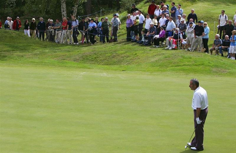 SUNNINGDALE, UNITED KINGDOM - JULY 22: Sam Torrance looks on during previews of the Senior Open Championship at the Sunningdale Golf Club on July 22, 2009 in Sunningdale, England. (Photo by Tom Dulat/Getty Images).