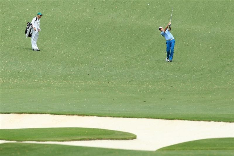 AUGUSTA, GA - APRIL 08:  Oliver Wilson of England hits his approach shot on the tenth hole during the first round of the 2010 Masters Tournament at Augusta National Golf Club on April 8, 2010 in Augusta, Georgia.  (Photo by David Cannon/Getty Images)