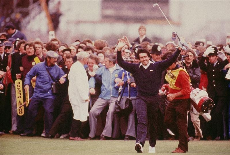 21 Jul 1979:  Seve Ballesteros of Spain celebrates on the 18th fairway on his way to victory in the British Open at Royal Lytham St Annes in Lancashire, England.  \ Mandatory Credit: Steve Powell /Allsport