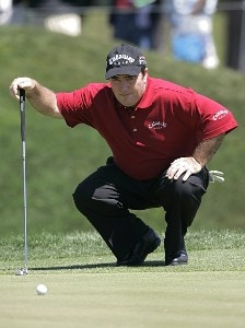 Craig Parry lining up a putt on the second green during the final round of THE PLAYERS Championship held at the TPC Stadium Course in Ponte Vedra Beach, Florida on March 26, 2006.Photo by Michael Cohen/WireImage.com