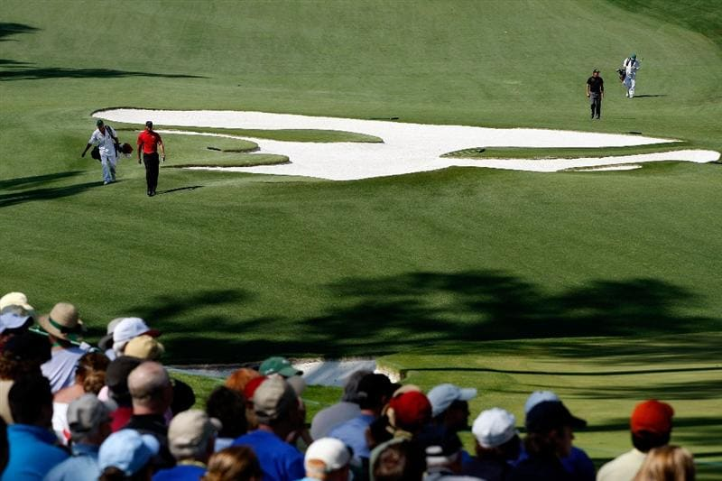 AUGUSTA, GA - APRIL 12:  Tiger Woods and Phil Mickelson walk up the tenth hole during the final round of the 2009 Masters Tournament at Augusta National Golf Club on April 12, 2009 in Augusta, Georgia.  (Photo by Jamie Squire/Getty Images)