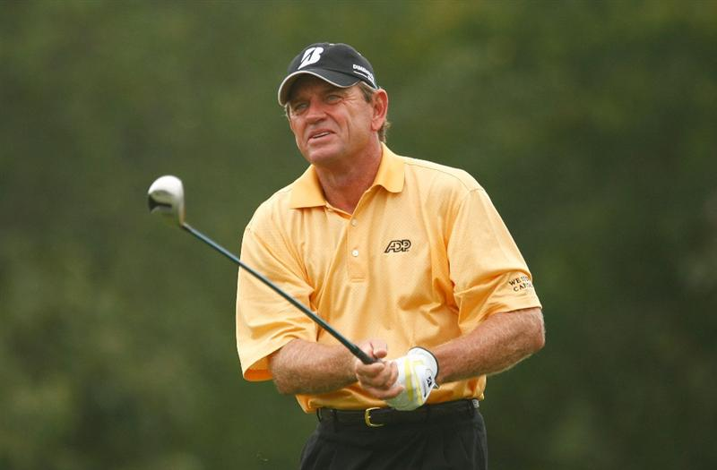 CONOVER, NC - SEPTEMBER 18:  Nick Price of Zimbabwe watches his tee shot on the second hole during the first round of the Greater Hickory Classic at the Rock Barn Golf & Spa on September 18, 2009 in Conover, North Carolina.  (Photo by Scott Halleran/Getty Images)