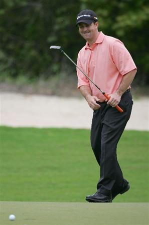 RIVIERA MAYA, MEXICO - FEBRUARY 19:  Charles Warren reacts as his putt goes wide of the hole during the second round of the Mayakoba Golf Classic at El Camaleon Golf Club held on February 19, 2010 in Riviera Maya, Mexico.  (Photo by Michael Cohen/Getty Images)
