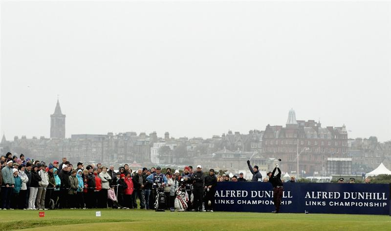 ST ANDREWS, SCOTLAND - OCTOBER 10:  Graeme McDowell of Northern Ireland drives off the fourth tee during the final round of The Alfred Dunhill Links Championship at The Old Course on October 10, 2010 in St Andrews, Scotland.  (Photo by Ross Kinnaird/Getty Images)