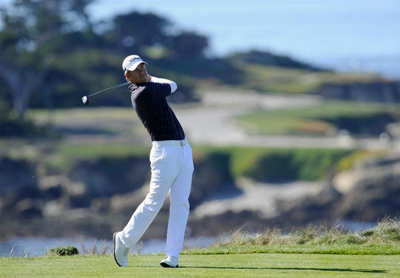 PEBBLE BEACH, CA - FEBRUARY 12:  Bryce Molder plays his tee shot on the fourth hole during the third round of the AT&T Pebble Beach National Pro-Am at the Spyglass Hil Golf Course on February 11, 2011  in Pebble Beach, California  (Photo by Stuart Franklin/Getty Images)