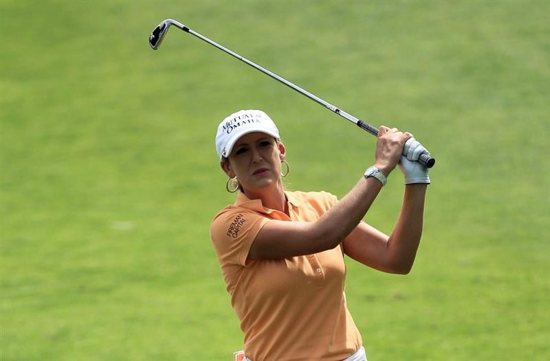 RANCHO MIRAGE, CA - MARCH 30:  Cristie Kerr of the USA in action during the pro-am for the 2011 Kraft Nabisco Championship on the Dinah Shore Championship Course at the Mission Hills Country Club on March 30, 2011 in Rancho Mirage, California.  (Photo by David Cannon/Getty Images)