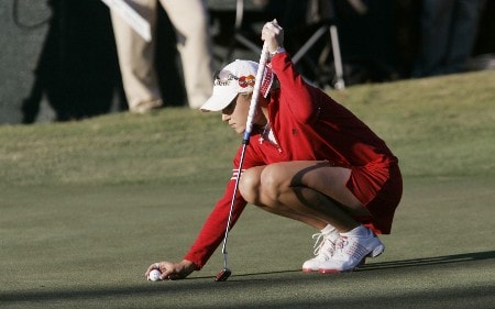 MOBILE, AL - NOVEMBER 8: Natalie Gulbis lines up her putt on the 18th green during first round play in The Mitchell Company LPGA Tournament of Champions at Magnolia Grove Golf Course November 8, 2007 in Mobile, Alabama.  (Photo by Dave Martin/Getty Images)