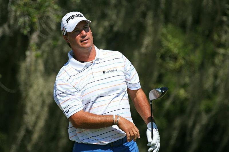 SEA ISLAND, GA - OCTOBER 9: Chris DiMarco watches his tee shot on the ninth hole during the third round of the McGladrey Classic at Sea Island's Seaside Course on October 9, 2010 in Sea Island, Georgia. (Photo by Hunter Martin/Getty Images)
