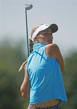 PRATTVILLE, AL - OCTOBER 3:  Amateur golfer Alexis Thompson, 14,  watches her drive from the third tee during third round play in the Navistar LPGA Classic at the Robert Trent Jones Golf Trail at Capitol Hill on October 3, 2009 in  Prattville, Alabama.  (Photo by Dave Martin/Getty Images)