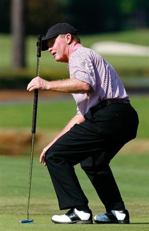 CARY, NC - SEPTEMBER 28:  Tom Kite reacts after missing a birdie putt on the 16th green during the final round of the 2008 SAS Championship at Prestonwood Country Club on September 28, 2008 in Cary, North Carolina.  (Photo by Kevin C. Cox/Getty Images)