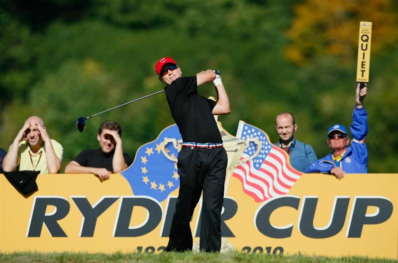 NEWPORT, WALES - OCTOBER 04:  Zach Johnson of the USA tees off in the singles matches during the 2010 Ryder Cup at the Celtic Manor Resort on October 4, 2010 in Newport, Wales.  (Photo by Tom Dulat/Getty Images)