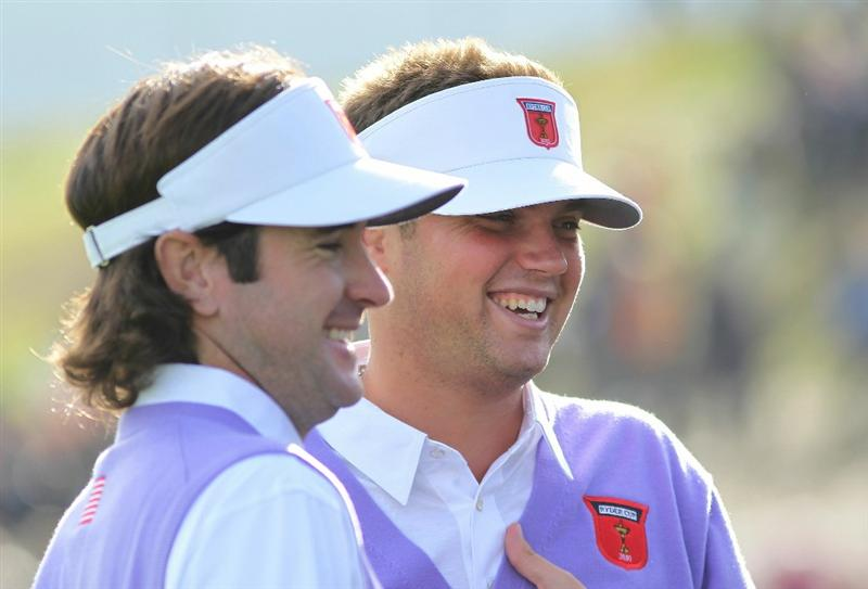 NEWPORT, WALES - OCTOBER 02:  Bubba Watson of the USA and team mate Jeff Overton (R) smile after winning their match during the rescheduled Morning Fourball Matches during the 2010 Ryder Cup at the Celtic Manor Resort on October 2, 2010 in Newport, Wales.  (Photo by Jamie Squire/Getty Images)