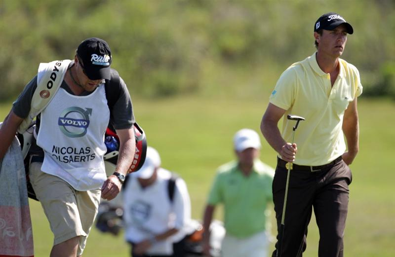 CASARES, SPAIN - MAY 21:  Nicolas Colsaerts of Belgium during his quarter final match of the Volvo World Match Play Championships at Finca Cortesin on May 20, 2011 in Casares, Spain.  (Photo by Ross Kinnaird/Getty Images)