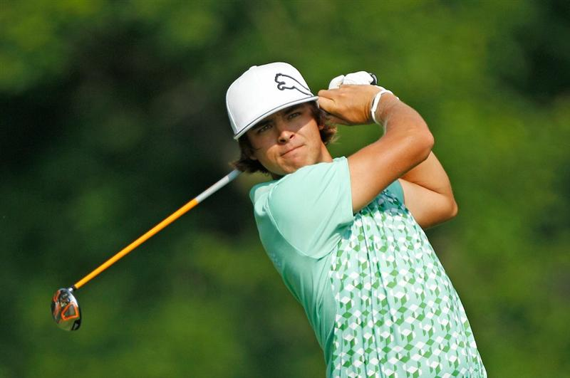 DUBLIN, OH - JUNE 04:  Rickie Fowler hits his tee shot on the 18th hole during the second round of the Memorial Tournament presented by Morgan Stanley at Muirfield Village Golf Club on June 4, 2010 in Dublin, Ohio.  (Photo by Scott Halleran/Getty Images)
