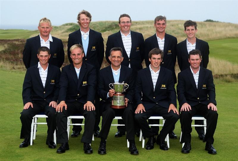 ST. ANDREWS, UNITED KINGDOM - AUGUST 30:  The Great Britain & Ireland team pose with the trophy after winning the St Andrews Trophy 2008 between Great Britain & Ireland and the Continent of Europe, held at Kingsbarns Golf Club, on August 29, 2008. in Fife, Scotland.  (Photo by Warren Little/Getty Images)