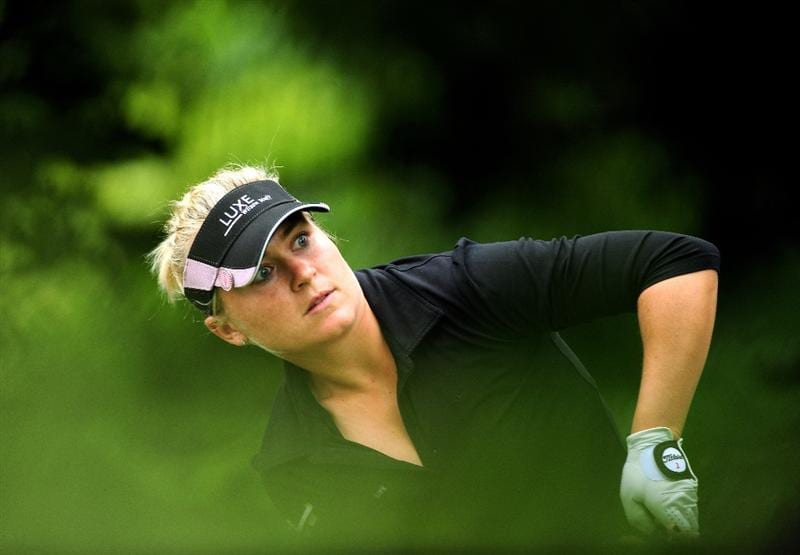 EVIAN-LES-BAINS, FRANCE - JULY 23:  Martina Eberl of Germany watches her tee shot on the third hole during the first round of the Evian Masters at the Evian Masters Golf Club on July 23, 2009 in Evian-les-Bains, France.  (Photo by Stuart Franklin/Getty Images)