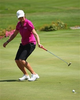EVIAN, FRANCE - JULY 25:  Helen Alfredsson of Sweden celebrates after holing a birdie putt on the 18th hole during the second round of the Evian Masters at the Evian Masters Golf Club on July 25, 2008 in Evian, France.  (Photo by Andrew Redington/Getty Images)
