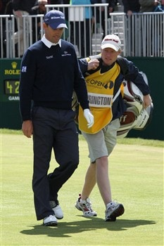 SOUTHPORT, UNITED KINGDOM - JULY 20:  Padraig Harrington of Ireland walks with his caddie Ronan Flood off of the 1st tee during the final round of the 137th Open Championship on July 20, 2008 at Royal Birkdale Golf Club, Southport, England.  (Photo by David Cannon/Getty Images)