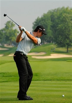BLOOMFIELD HILLS, MI - AUGUST 05:  Aaron Baddeley of Australia hits a shot during a practice round prior to the 90th PGA Championship at Oakland Hills Country Club on August 5, 2008 in Bloomfield Township, Michigan.  (Photo by Sam Greenwood/Getty Images)