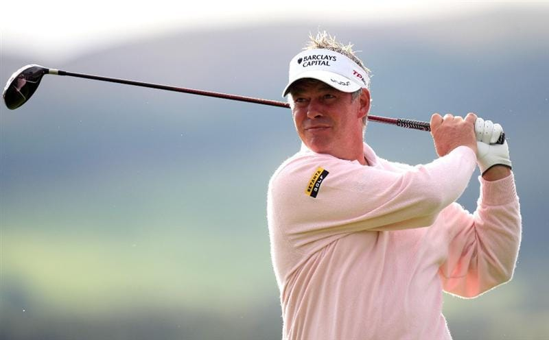 PERTH, UNITED KINGDOM - AUGUST 29:  Darren Clarke of Northern Ireland on the par five 12th hole during the second round of The Johnnie Walker Championship at Gleneagles on August 29, 2008 at the Gleneagles Hotel and Resort in Perthshire, Scotland.  (Photo by Ross Kinnaird/Getty Images)