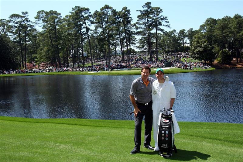 AUGUSTA, GA - APRIL 08:  Nick Faldo of England poses with his caddie during the Par 3 Contest prior to the 2009 Masters Tournament at Augusta National Golf Club on April 8, 2009 in Augusta, Georgia.  (Photo by Andrew Redington/Getty Images)