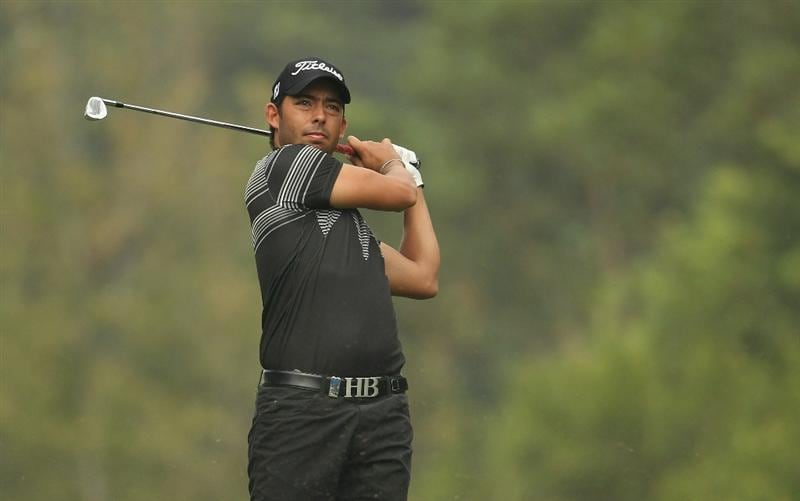 HONG KONG - NOVEMBER 18:  Pablo Larrazabal of Spain looks on after playing a shot during day one of the UBS Hong Kong Open at The Hong Kong Golf Club on November 18, 2010 in Hong Kong, Hong Kong.  (Photo by Ian Walton/Getty Images)