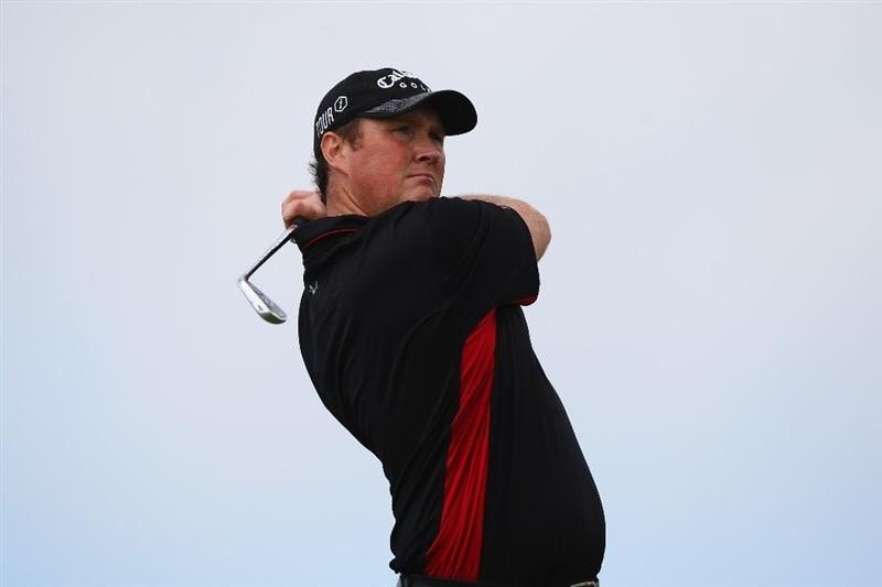 MADEIRA, PORTUGAL - MARCH 20:  Michael McGeady of Ireland tees off from the eleventh during round two of the Madeira Islands Open BPI at the Porto Santo Golfe Club on March 20, 2009 in Porto Santo,Portugal.  (Photo by Michael Steele/Getty Images)