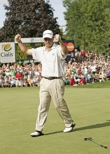 Brian Bateman sinks a birdie putt to win the Buick Open held at Warwick Hills Golf & Country Club in Grand Blanc, Michigan, on July 1, 2007. Photo by: Chris Condon/PGA TOURPhoto by: Chris Condon/PGA TOUR