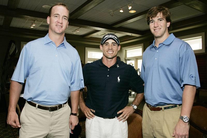 Peyton Manning, Jonathan Byrd and Eli Manning