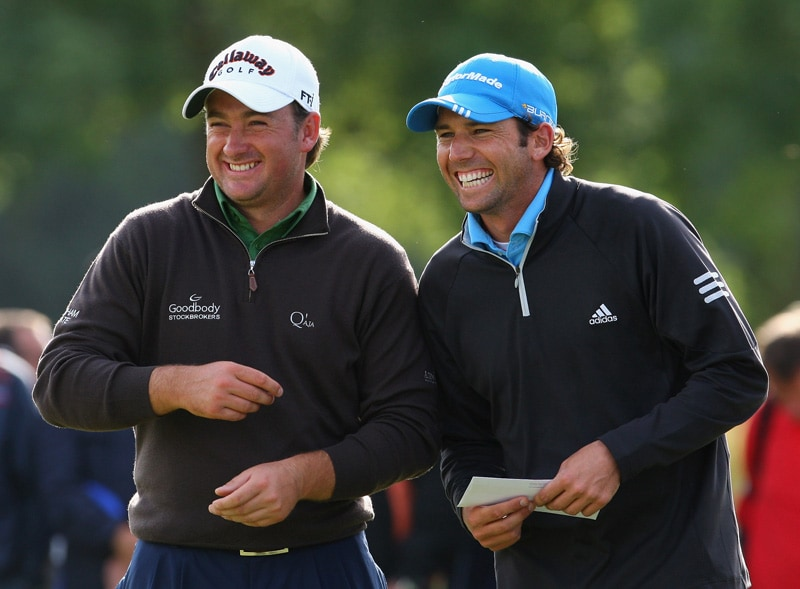 Graeme McDowell and Sergio Garcia at the 2008 European Open