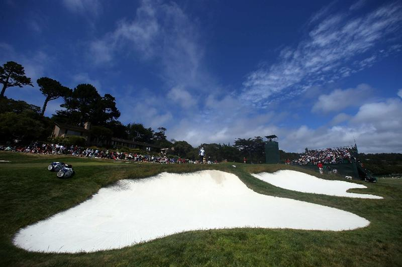 PEBBLE BEACH, CA - JUNE 19:  A general view of the first green during the third round of the 110th U.S. Open at Pebble Beach Golf Links on June 19, 2010 in Pebble Beach, California.  (Photo by Donald Miralle/Getty Images)