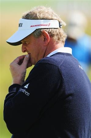 TURNBERRY, SCOTLAND - JULY 15:  Colin Montgomerie of Scotland looks thoughful during a practice round prior to the 138th Open Championship on the Ailsa Course, Turnberry Golf Club on July 15, 2009 in Turnberry, Scotland.  (Photo by Stuart Franklin/Getty Images)