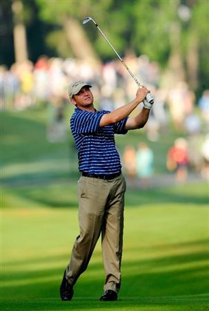 PONTE VEDRA BEACH, FL - MAY 06:  Jason Bohn plays a fairway shot on the tenth hole during the first round of THE PLAYERS Championship held at THE PLAYERS Stadium course at TPC Sawgrass on May 6, 2010 in Ponte Vedra Beach, Florida.  (Photo by Sam Greenwood/Getty Images)