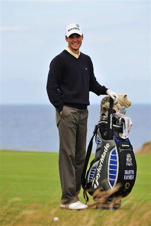 TURNBERRY, SCOTLAND - JULY 14:  Martin Kaymer of Germany smiles during a practice round prior to the 138th Open Championship on the Ailsa Course, Turnberry Golf Club on July 14, 2009 in Turnberry, Scotland.  (Photo by Stuart Franklin/Getty Images)