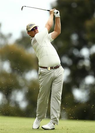 MELBOURNE, AUSTRALIA - NOVEMBER 14:  Ryan Haller of Australia hits a shot during round four of the Australian Masters at The Victoria Golf Club on November 14, 2010 in Melbourne, Australia.  (Photo by Lucas Dawson/Getty Images)