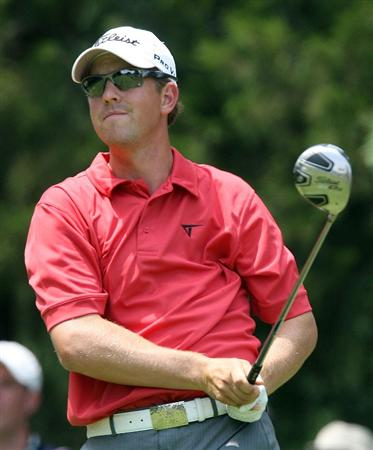 BETHESDA, MD - JULY 04:  Bryce Molder hits his tee shot on the third hole during the third round of the AT&T National at the Congressional Country Club on July 4, 2009 in Bethesda, Maryland.  (Photo by Hunter Martin/Getty Images)