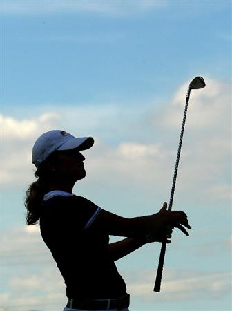 MELBOURNE, AUSTRALIA - MARCH 12:  Giulia Sergas of Italy follows the flight of her approach shot on the fourth hole during round two of the 2010 Women's Australian Open at The Commonwealth Golf Club on March 12, 2010 in Melbourne, Australia.  (Photo by Mark Dadswell/Getty Images)