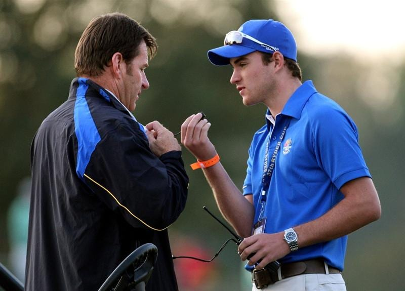 LOUISVILLE, KY - SEPTEMBER 19:  European team captain Nick Faldo with his son Matthew on the first tee during the morning foursomes on day one of the 2008 Ryder Cup at Valhalla Golf Club on September 19, 2008 in Louisville, Kentucky.  (Photo by Ross Kinnaird/Getty Images)