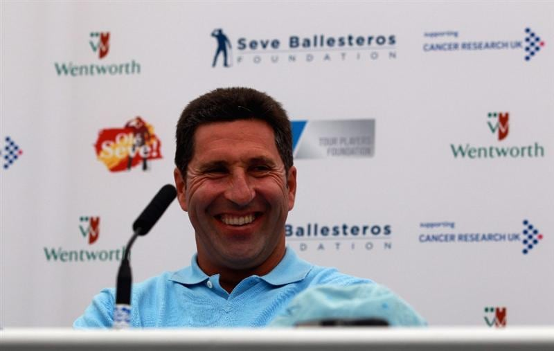 VIRGINIA WATER, ENGLAND - MAY 23:  Jose Maria Olazabal of Spain addresses the media during a press conference before the start of the 'Ole Seve' Pro-Am in aid of the Seve Ballesteros Foundation at Wentworth Club on May 23, 2011 in Virginia Water, England.  (Photo by Andrew Redington/Getty Images)