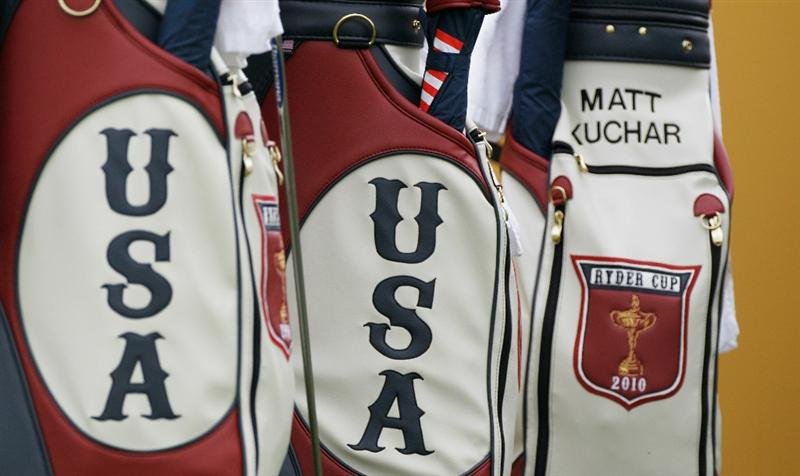NEWPORT, WALES - SEPTEMBER 30:  General detail showing Team USA golf bags during a practice round prior to the 2010 Ryder Cup at the Celtic Manor Resort on September 30, 2010 in Newport, Wales. (Photo by Sam Greenwood/Getty Images)