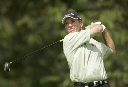 Jerry Pate on the 14th hole during the first round of the 2005 Constellation Energy Classic at Hayfields Country Club in Hunt Valley, Maryland on September 16, 2005.Photo by Mike Ehrmann/WireImage.com